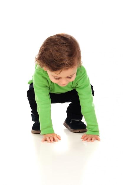 Piękne małe dziecko dwa lata Premium Zdjęcia
