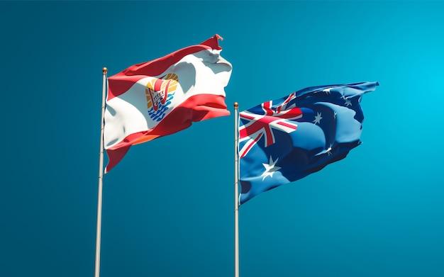 Piękne Narodowe Flagi Państwowe Polinezji Francuskiej I Australii Razem Premium Zdjęcia