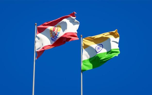 Piękne Narodowe Flagi Państwowe Polinezji Francuskiej I Indii Razem Premium Zdjęcia