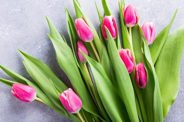 Piękne żółte Różowe Tulipany Premium Zdjęcia