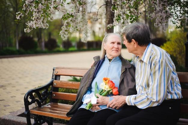 Piękni szczęśliwi starzy ludzie siedzi w jesień parku Premium Zdjęcia