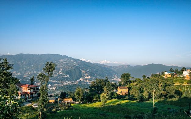 Piękny Krajobraz Widok Na Wieś, Kathmandu, Nepal Premium Zdjęcia
