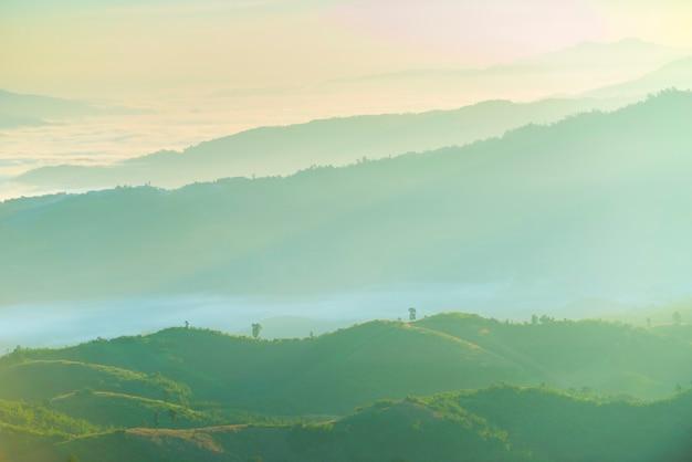 Piękny krajobraz zielony pasmo górskie z mgłą w ranku Premium Zdjęcia