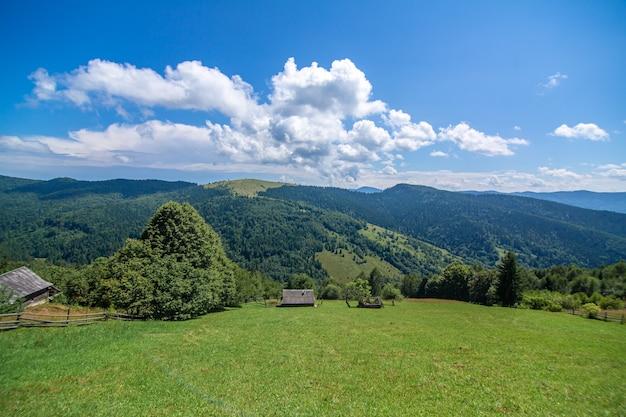 Piękny Letni Krajobraz Wsi Wśród Karpat. Premium Zdjęcia