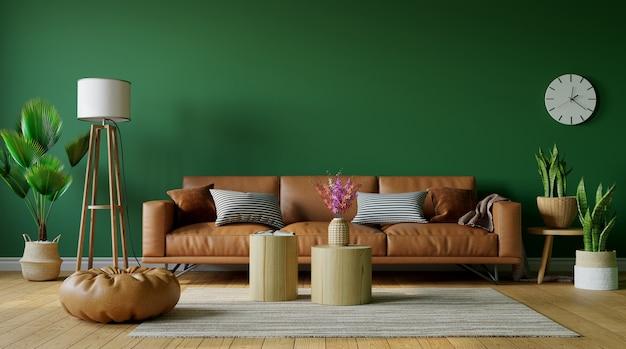 Piękny Salon Ze Skórzaną Sofą Na Tle Zielonej Pustej ściany, Renderowania 3d Premium Zdjęcia