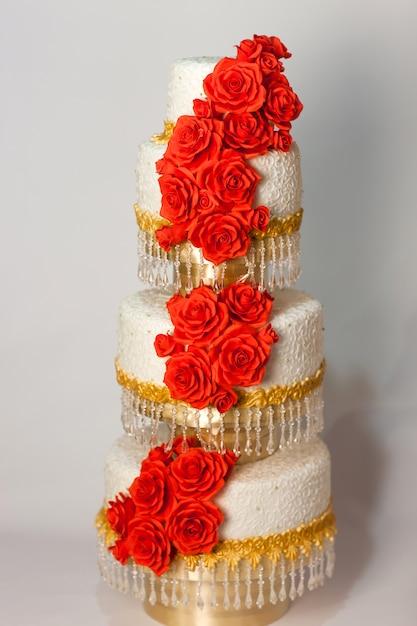 Piękny Tort Weselny Premium Zdjęcia