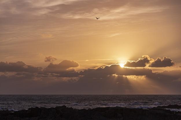 Piękny Zachód Słońca Nad Oceanem Na Horyzoncie, Słońce świeci Przez Duże Chmury Darmowe Zdjęcia