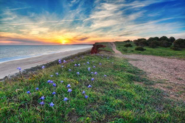 Piękny Zachód Słońca W Kolorach Morza I Błękitnego Nieba. W Pobliżu Drogi. Premium Zdjęcia