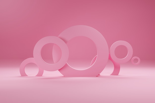 Pierścienie W Kolorze Różowym, Na Baner Lub Plakat. Minimalizm, Abstrakcyjne Kształty Geometryczne I Formy Tła Renderowania 3d. Premium Zdjęcia