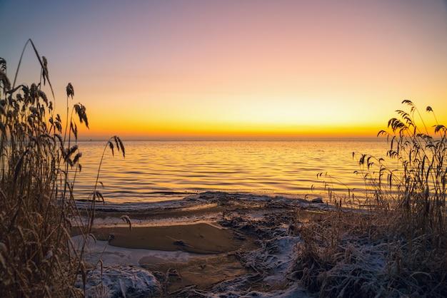 Pierwsze Promienie Słońca Nad Jeziorem ładoga Rano Zimą. Premium Zdjęcia