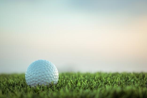 Piłka golfowa na trawie na nieba tle Premium Zdjęcia