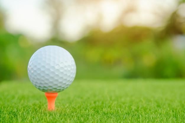Piłka golfowa z pomarańczowym trójnikiem na zielonej trawie przygotowywającej bawić się przy polem golfowym. Premium Zdjęcia