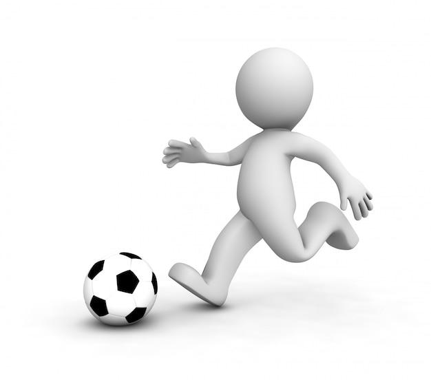 Piłkarze 3d Biegną Za Piłką Premium Zdjęcia