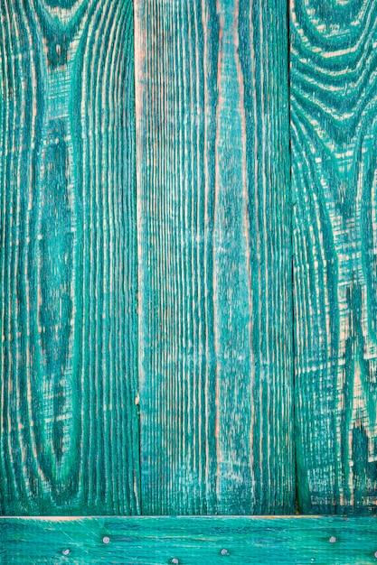 Pionowe Tło Trzech Zielonych Desek Tekstury Drewnianych Przymocowanych Poziomą Deską. Premium Zdjęcia
