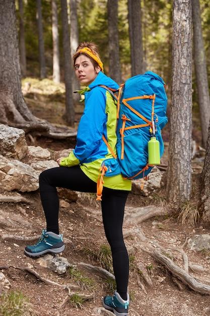 Pionowe Ujęcie Kobiet Turystycznych Spacerów W Górskim Lesie, Spogląda Wstecz, Pokonuje Duże Odległości Pod Górę Darmowe Zdjęcia