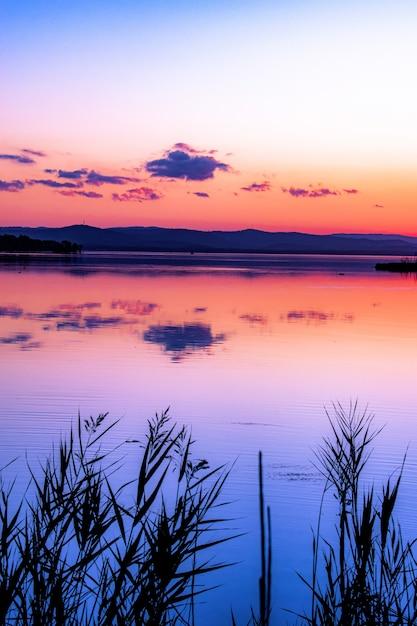 Pionowe Ujęcie Piękny Zachód Słońca Na Plaży Darmowe Zdjęcia