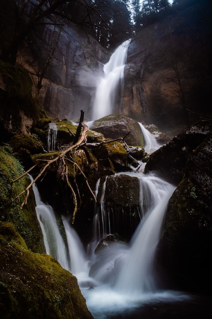 Pionowe Ujęcie Słynnego Pięknego Golden Falls W Stanie Oregon W Deszczowy Dzień Darmowe Zdjęcia