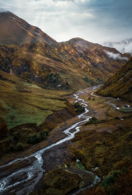 Pionowe Wysoki Kąt Strzału Rzeki Przechodzącej Przez Piękną Trawę Darmowe Zdjęcia