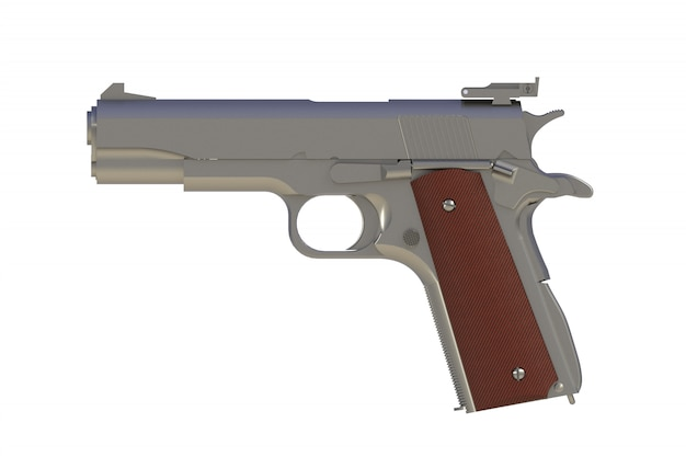 Pistolet Kalibru 45 Na Białym Tle Premium Zdjęcia