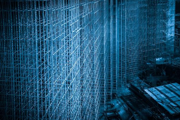 Plac budowy w stylu niebieskim, rama konstrukcji budynku Premium Zdjęcia