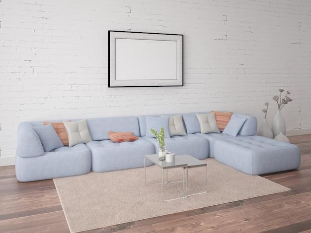 Plakat Pokój Dzienny Ze Stylową Sofą Na Tle ściany Z Cegieł Premium Zdjęcia