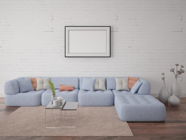 Plakat Z Dużą Wygodną Sofą W Tle Na Hipsterie Premium Zdjęcia
