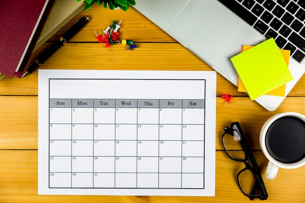 Plan kalendarza prowadzenie działalności lub czynności miesięcznie. Premium Zdjęcia