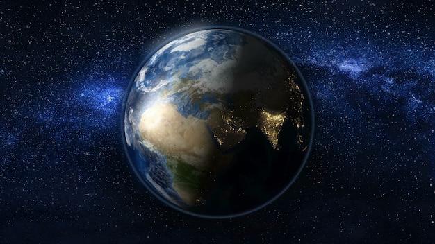 Planeta Ziemia W Czarno-niebieskim Wszechświecie Gwiazd Premium Zdjęcia