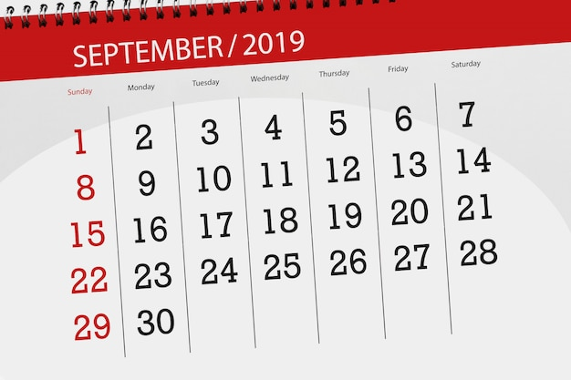 Planner kalendarza na miesiąc wrzesień 2019, dzień ostateczny Premium Zdjęcia