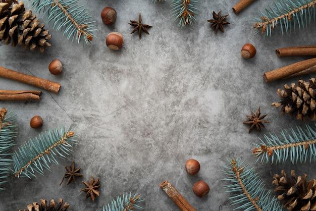 Płaska rama z laskami cynamonu i miejscem na kopię Darmowe Zdjęcia