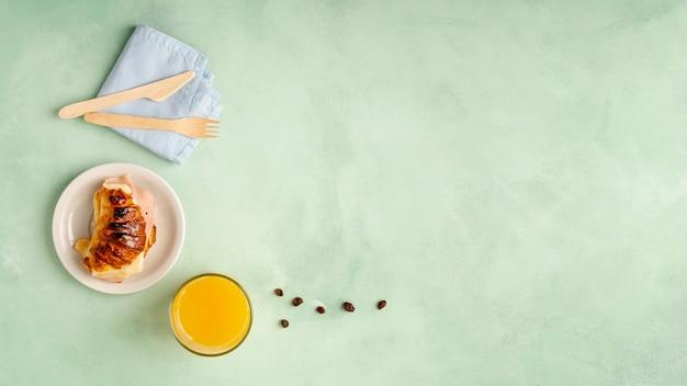 Płaska rama z pysznym śniadaniem i przestrzenią Darmowe Zdjęcia