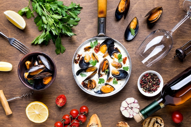 Płaska śródziemnomorska Dieta Z Małżami Darmowe Zdjęcia