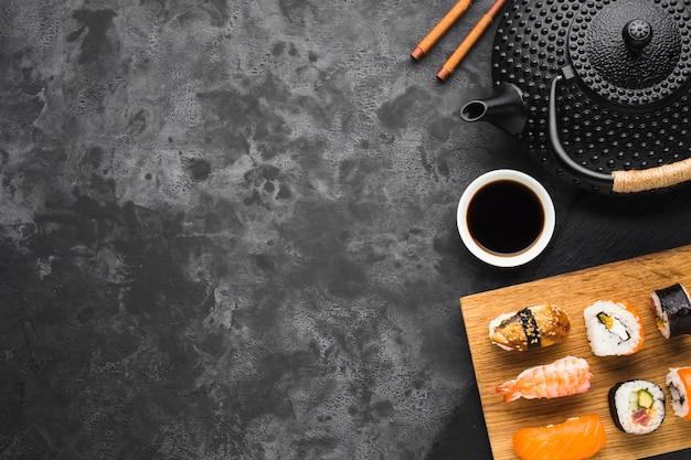 Płaski Układ Sushi Z Miejsca Kopiowania Darmowe Zdjęcia