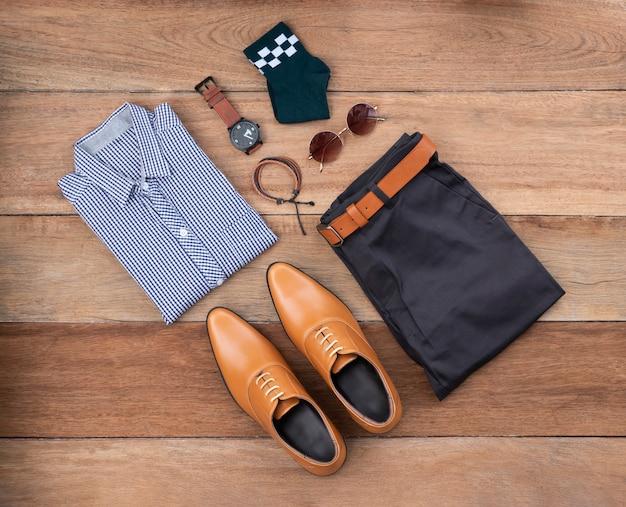 Płaski Układ, Widok Z Góry, Moda Męska Zestaw Ubrań Codziennych Premium Zdjęcia