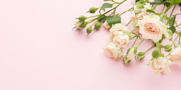 Płaskie Leżały Białe Róże Z Miejscem Na Kopiowanie Premium Zdjęcia