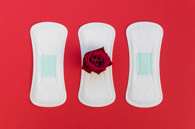 Płaskie Podkładki Leżały Z Czerwoną Różą Na Czerwonym Tle Darmowe Zdjęcia