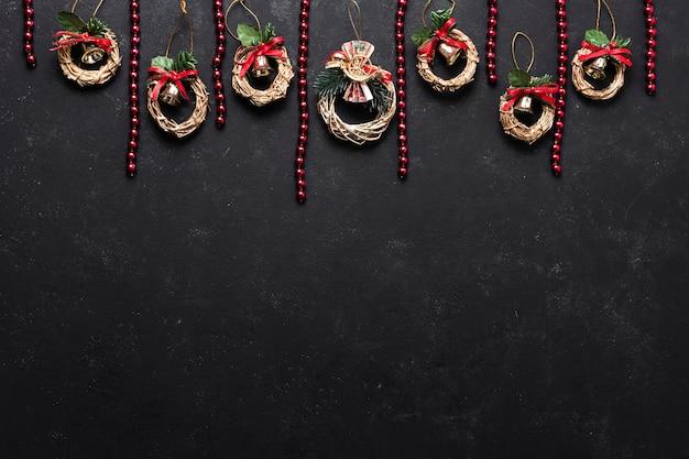 Płaskie świeckich dekoracyjnych świątecznych aranżacji z miejsca kopiowania Darmowe Zdjęcia