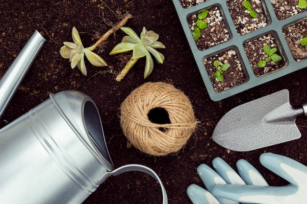 Płasko Leżące Narzędzia Ogrodnicze I Rośliny Na Ziemi Darmowe Zdjęcia