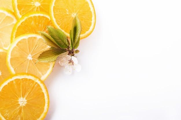Plasterki Pomarańczy I Cytryny Na Białym Tle. Darmowe Zdjęcia