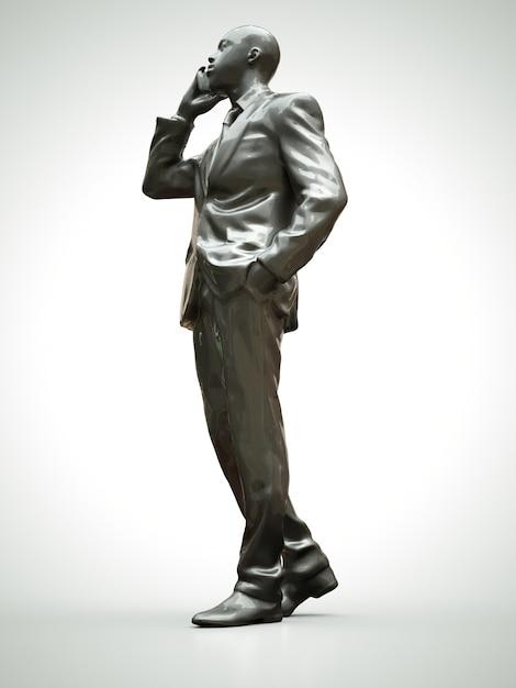 Plastikowa Postać Czarnego Mężczyzny W Garniturze Rozmawiającego Przez Telefon Premium Zdjęcia