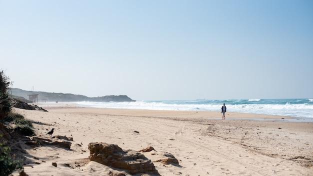 Plaża Z Ludźmi Na Niej Otoczona Morzem I Wzgórzami Pokrytymi Zielenią W Słońcu Darmowe Zdjęcia