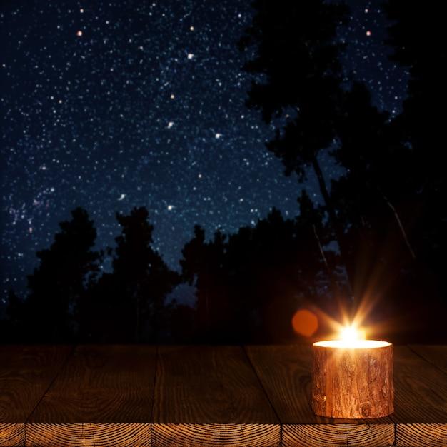 Płonąca świeca Na Stole Premium Zdjęcia