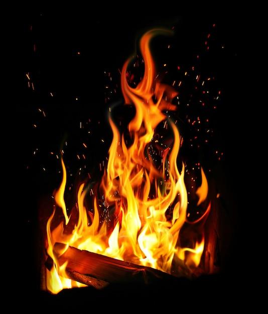Płonący dziennik i ogień Premium Zdjęcia