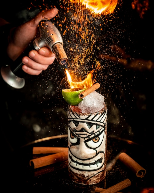 Płonący koktajl z lodem i owocami Darmowe Zdjęcia