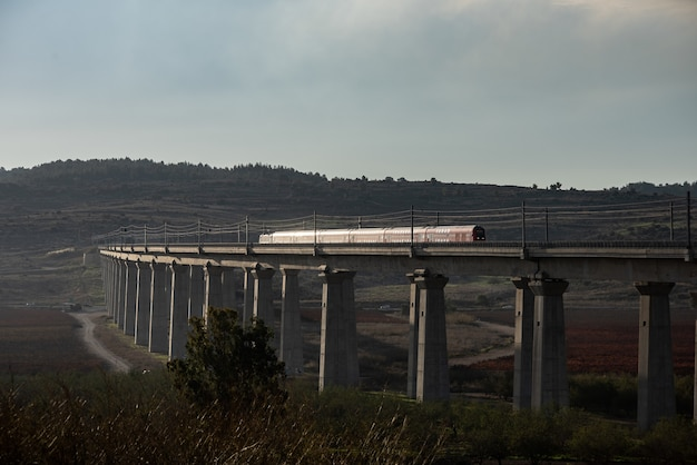 Pociąg Na Kolei Otoczony Zielenią Pod Błękitnym Pochmurnym Niebem Wieczorem Darmowe Zdjęcia