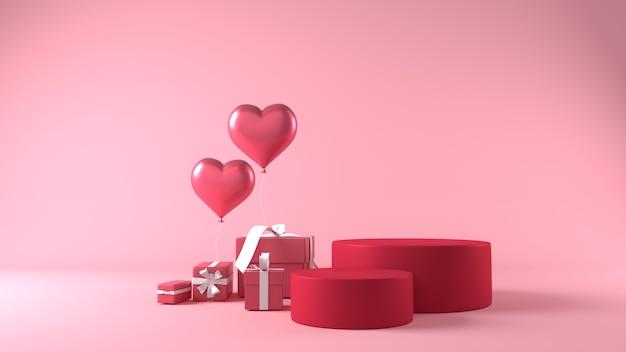 Podium Do Lokowania Produktu W Walentynki Z Dekoracjami Premium Zdjęcia