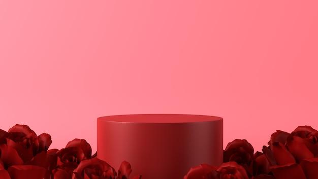 Podium Do Lokowania Produktu W Walentynkowej Dekoracji Z Różami Premium Zdjęcia