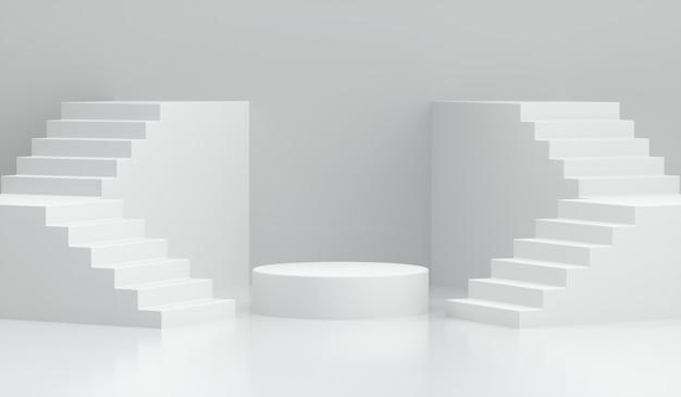Podium Renderowania 3d Ze Schodami Na Białym Tle Premium Zdjęcia