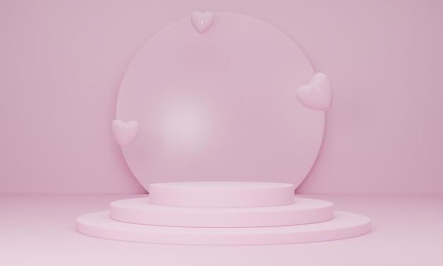 Podium W Zakochanej Platformie I Serduszkach Na Różowym Tle, Minimalne Streszczenie. Koncepcja Szczęśliwych Kobiet, Matki, Walentynek. Renderowanie 3d Premium Zdjęcia