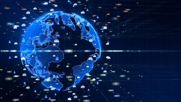 Podłączona Cyfrowa Sieć Danych. Koncepcja Cyfrowej Cyberprzestrzeni Premium Zdjęcia